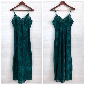 VTG Victorias Secret Gold Tag Emerald Green Slip